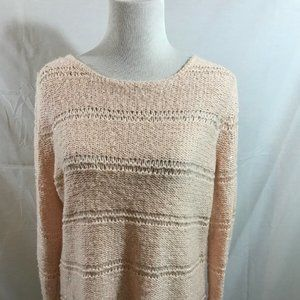 Chico's pale pink long sleeve crew neck sweater